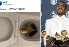 KANYE WEST Peeing on the Grammy Award and posted video on Twitter