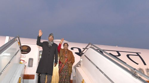 President of India boarded the Air India One B777 aircraft for the inaugural flight to Chennai