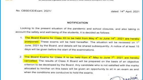 CBSE Board Exam 2021 canceled latest news: 10 & 12 Result will be prepared without exam