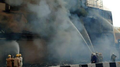 A massive fire broke out in Delhi's Lajpat Nagar market