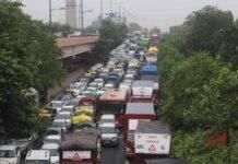 Massive traffic jam at Ring Road after heavy rain in Delhi