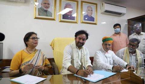 Shri G Kishan Reddy takes charge as Union Culture Minister & Smt. Meenakshi Lekhi as Ministers of State in Culture Ministry