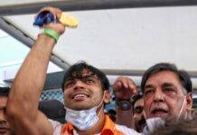 Hundreds of fans surrounded Neeraj Chopra amid tight security