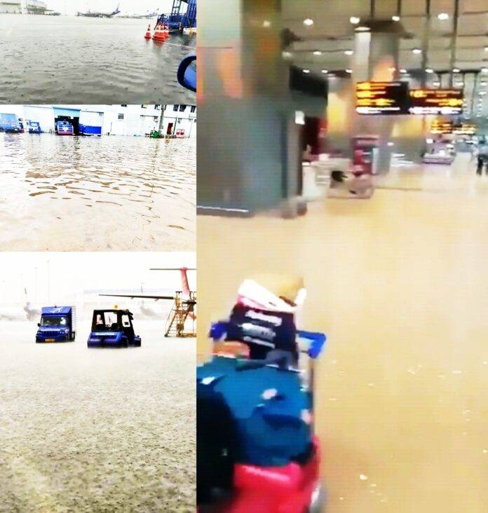 Waterlogging in IGIA due to heavy rain, but operations not affected